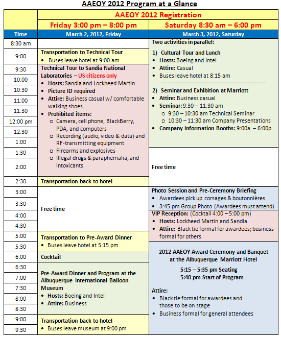 AAEOY 2012 Program at a Glance